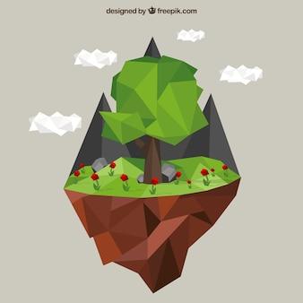 ポリゴンツリーと山