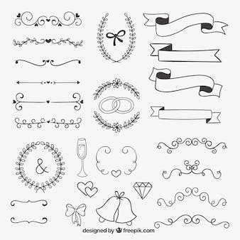 結婚式のための手描きの装飾