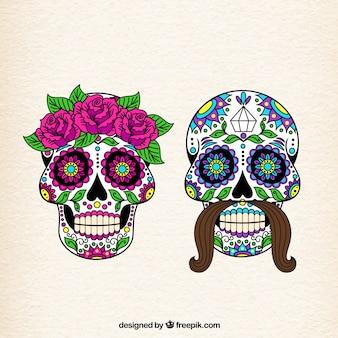 女性と男性の砂糖頭蓋骨