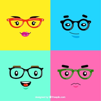 Красочные лица в очках