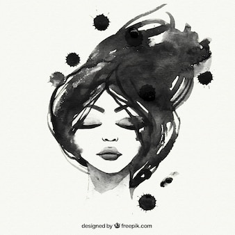 Ручная роспись черная женщина