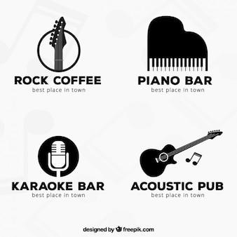 Черный музыка логотипы коллекция