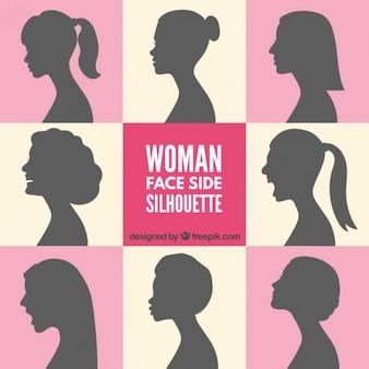 女性の顔側のシルエット