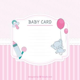 ピンクの色調でストライプベビーシャワーカード