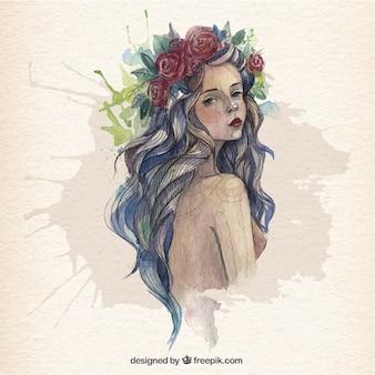 水彩画のスタイルで美しい女性