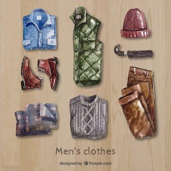 Акварель мужская одежда