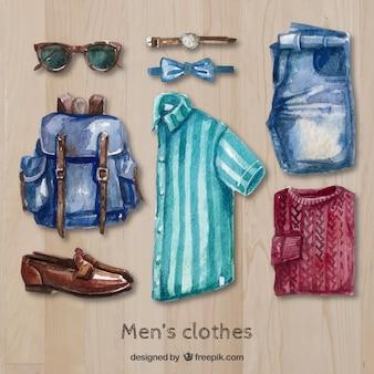 Акварель мужская одежда в стиле модерн