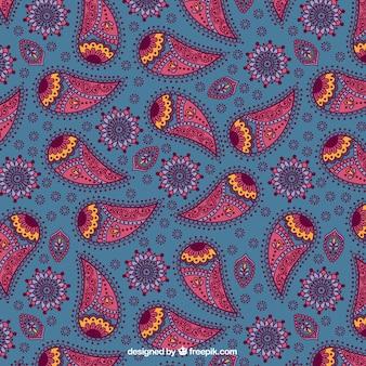 ブルーとピンクの色調でペイズリーパターン