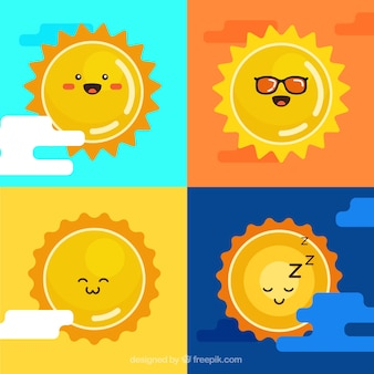 かわいい黄色の太陽パック