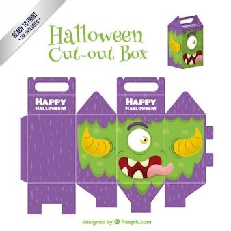 おかしいモンスターは、ハロウィーンのためのボックスをカット