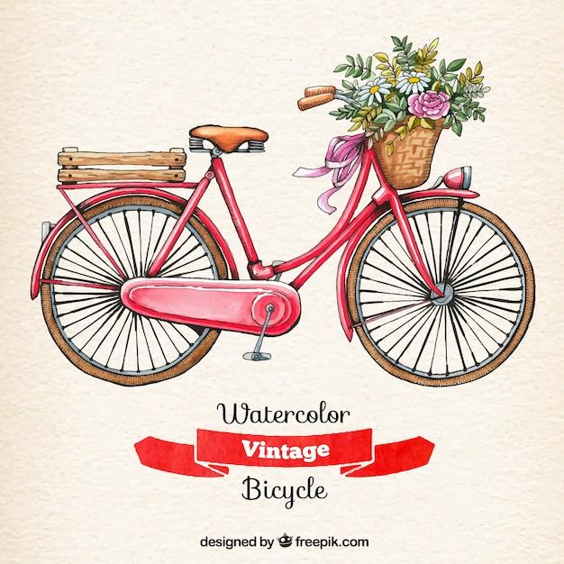 水彩ヴィンテージ自転車