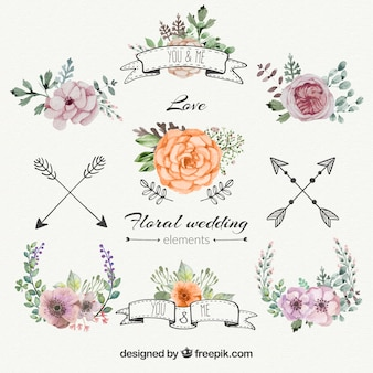 花の結婚式の装飾を設定