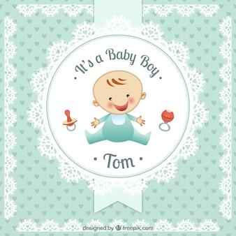 ドイリースタイルで男の赤ちゃんカード