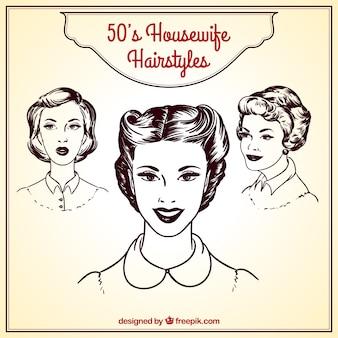 レトロな主婦のヘアスタイル