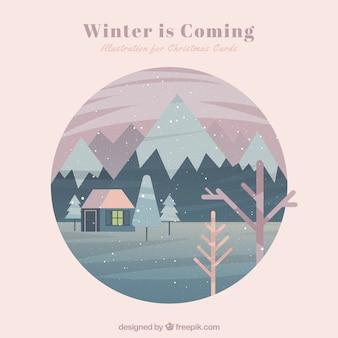 冬はカードを来ています