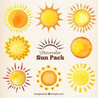 水彩太陽のコレクション