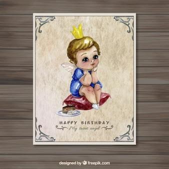 水彩画エンジェル誕生日カード