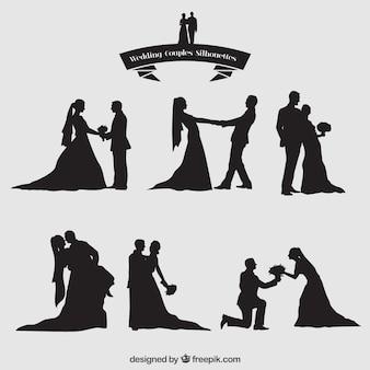 結婚式のカップルのシルエットセット