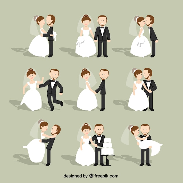設定フラット結婚式のカップル