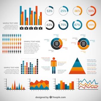 Разнообразие цветных элементов инфографики