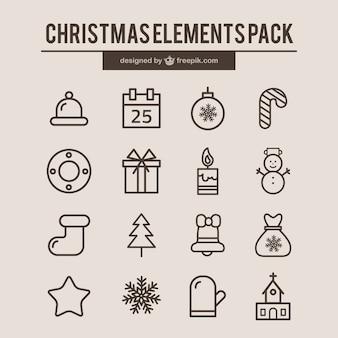 クリスマスの要素のアイコン