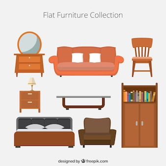 フラット家具アイコンのコレクション