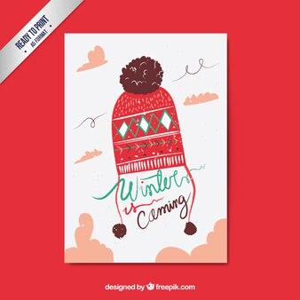 冬は手描き風のカードを来ています