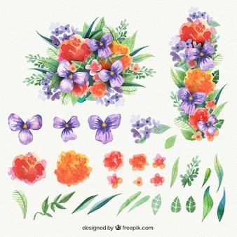 水彩画のスタイルで色とりどりの花