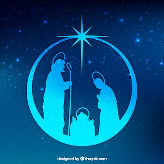 キリスト降誕シーンのシルエット