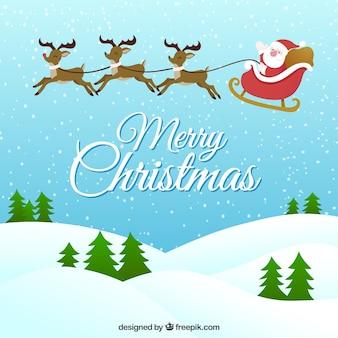 Санта-клаус в санях фоне