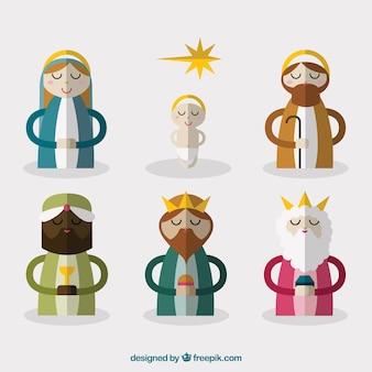 フラットなデザインのキリスト降誕シーン文字