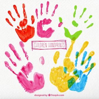 カラフルな子供の手形