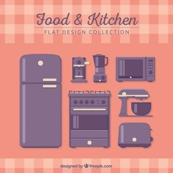 かわいい紫色の台所の要素