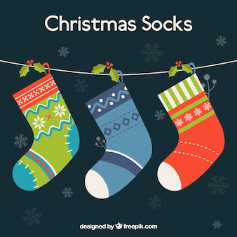 Рождественские носки, висит на веревке