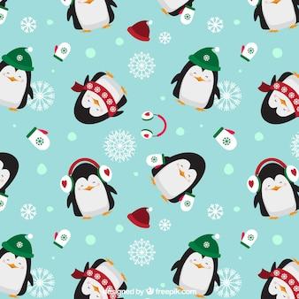 Рождественские пингвины шаблон