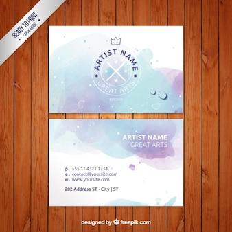 水彩画アーティストビジネスカード