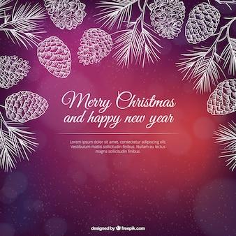 手描き松ぼっくりクリスマスの背景