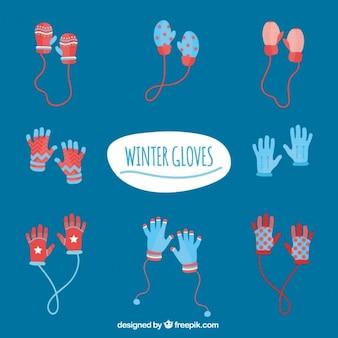 フラット冬の手袋コレクション
