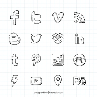 Социальная сеть рисованной логотипы коллекция