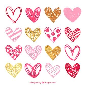 Эскизные розовые сердца пакет