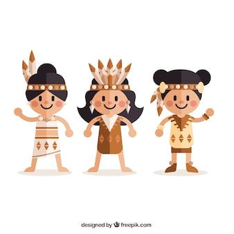 フラットなデザインの女性アメリカインディアン