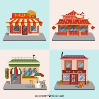国際色豊かなレストランの建物