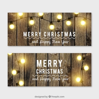 Гирлянды рождественские огни баннеры