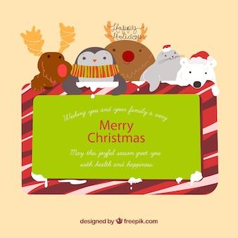 動物とのクリスマスの挨拶