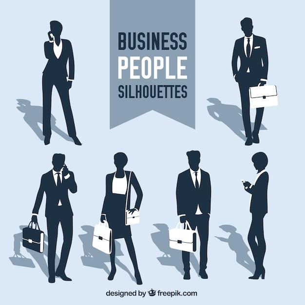 ビジネスの人々はコレクションをシルエット