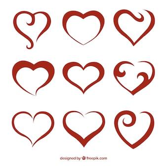 Абстрактные красные сердца пакет