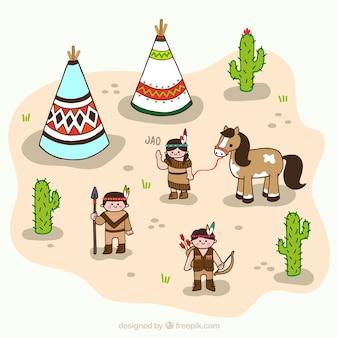 砂漠の平坦インドの子供たちのキャラクター