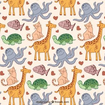 手描きの動物パターン