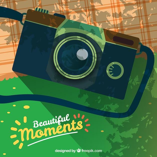 カメラのイラストとピクニック