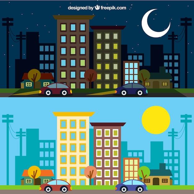 Город в разные моменты дня